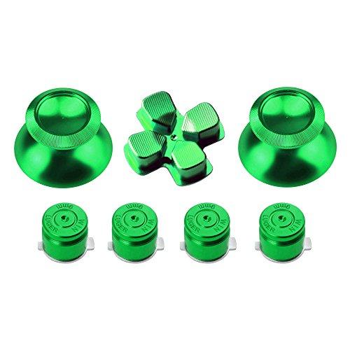 Gam3Gear Metal Aluminium Thumbstick D-pad Bullet Button Mod Set for PS4 Controller Green