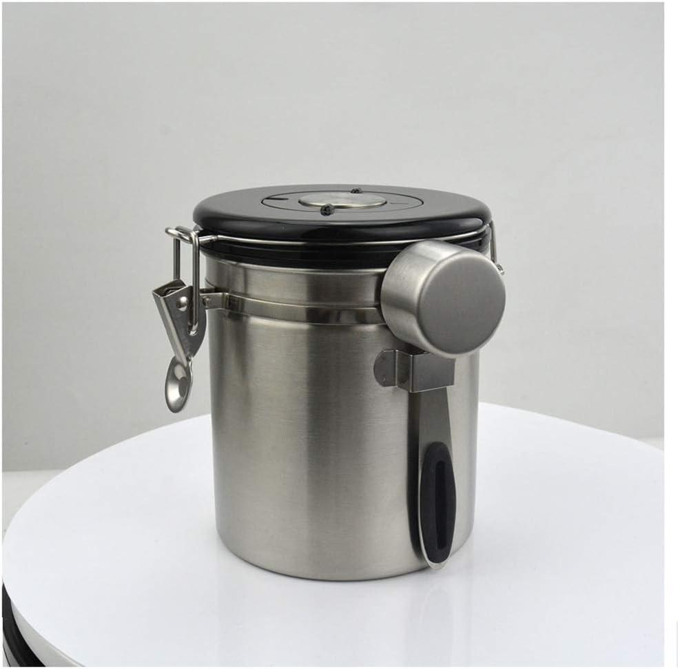 Bai You Mei - Bote de Acero Inoxidable para café, hermético, con indicador de Fecha, con válvula de liberación de CO2, para Granos de café, Polvo, té, nueces, Cacao, 1500 ml, 1500ml