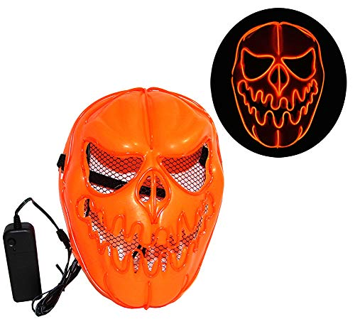 Men's Halloween Pumpkin Mask LED Rave El Wire Mask Scary Cosplay Festival Mask for $<!--$17.99-->