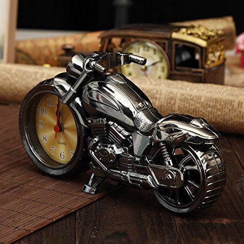 Aliciashouse 4 Farben Motorrad Wecker Uhr Motorrad nach Hause Vintage Deko Kunststoff cooles Geschenk-#4