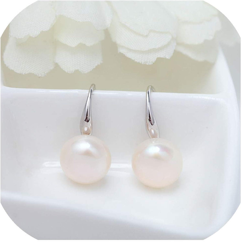 Pendientes de perlas de agua dulce de diseño simple, joyería de boda de alta calidad para mujer
