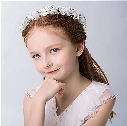 KMALL Bianco coroncina fiori capelli regolabile fiore per sposa damigella  strass perlina d onore bambina a0585bba8fec