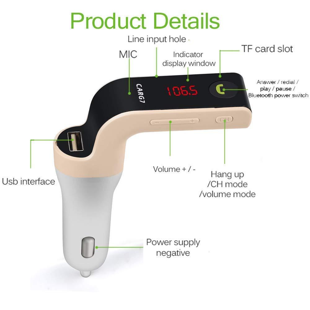 HelloPet G7 Handsfree BT Car Kit MP3 Player FM Transmitter USB Charger Adapter Black