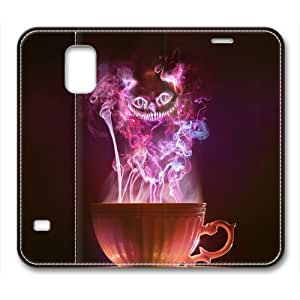 Tea Cup Cheshire Cat Glow Sakuraelieechyan Premium Leather Case For Samsung Galaxy S5 by mcsharks