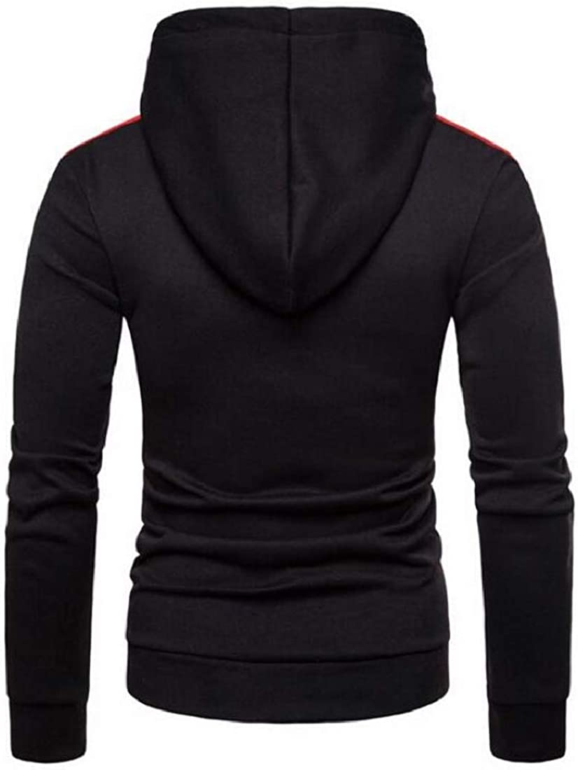 Fensajomon Men Casual Long Sleeve Drawstring Pocket Contrast Pullover Hoodie Sweatshirt