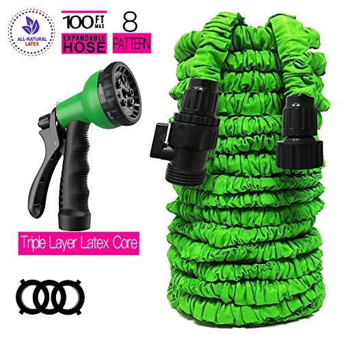 Garden Hose 100 FT Garden Hose with Triple Layer Latex Core 3/4 ABS Aluminum Alloy Fittings 8 Function Spray Nozzle On/Off Valve Extra Strength Fabric Expandable Garden Hose for All Your Watering Need