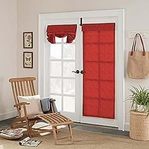 1pieza 68inch Chilli color sólido francés puerta cortina Panel único, rojo oscuro cristal puerta patio puerta cortinas elegante contemporáneo vertical Shades Casual versátil, poliéster