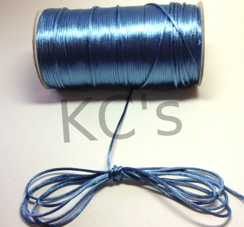 50 Yards - 2mm Antique Blue Satin Rattail Cord Chinese/china Knot Rat Tail Jewelry Braid 100% Polyester