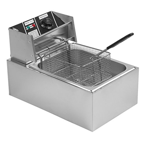 - Chennly Single Tank Electric Deep Fryer - 10L 2500W Stainless Steel Commercial Electric Deep Fat Fryer with Basket & Drain, Professional Large Temperature Control Fryer