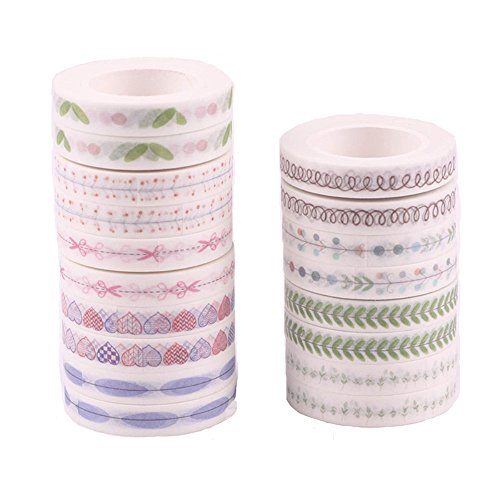 Agutape 18 Rolls Washi Tape Set, 8mm Wide Decorative Masking Tape,Decorative Craft Tape Collection for DIY and Gift Wrapping