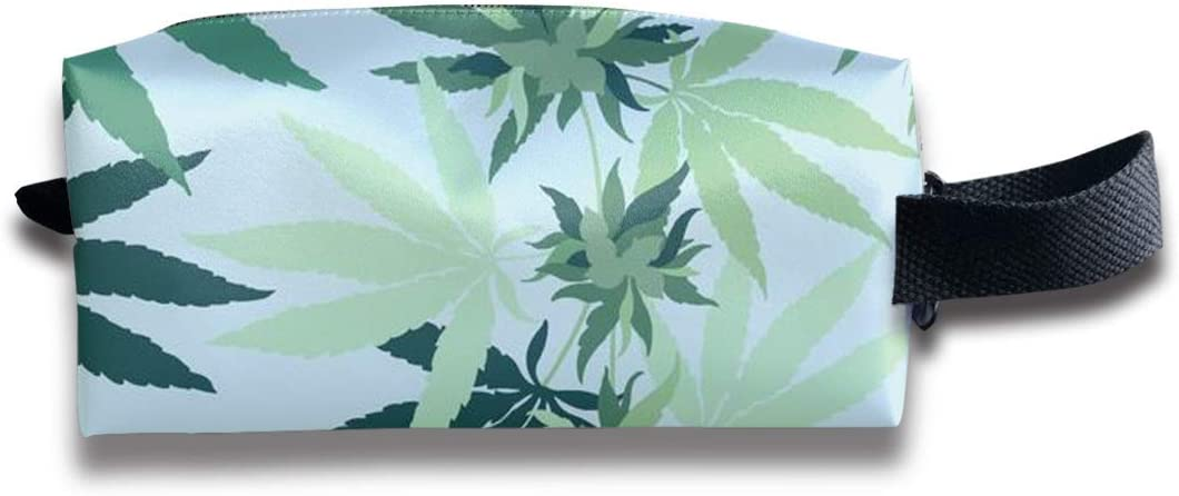 Mujer Chica Maquillaje Estuche, Multifunción Maquillaje de viaje Estuche para tren Estuche de almacenamiento Bolsa de gran capacidad Cremallera Organizador de pluma - Cannabis Marihuana Hoja de hierba