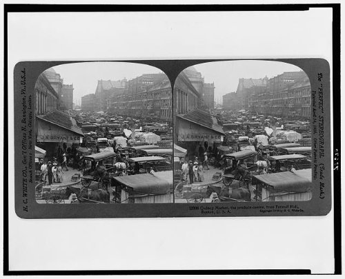 1906 Photo Quincy Market, the produce centre, from Faneuil Hall, Boston Street crowded with wagons and horses. Location: Boston, ()