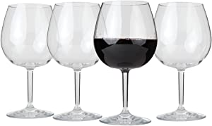 Lily's Home Unbreakable Red Wine Glasses, Made of Shatterproof Tritan Plastic and Ideal for Indoor and Outdoor Use, Reusable (22oz each, Set of 4)