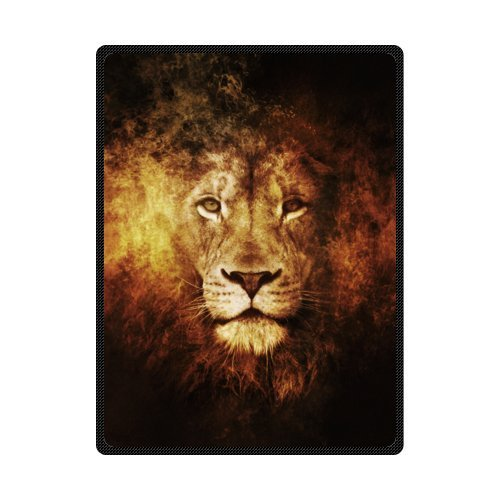 The Head of Cool Lion Love Wild Animal - Personnalized Custom Fleece Blanket 58 inches x 80 inches (Large)