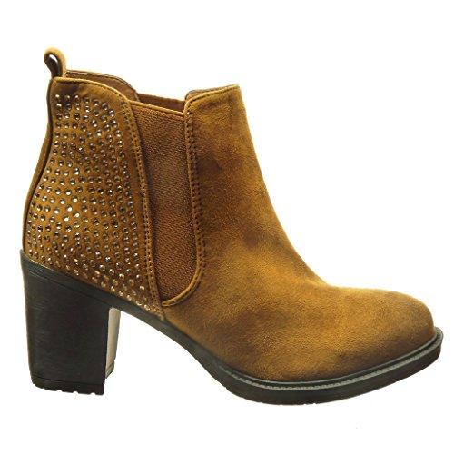 Angkorly - Zapatillas de Moda Botines chelsea boots mujer strass Talón Tacón ancho alto 7 CM - Camel