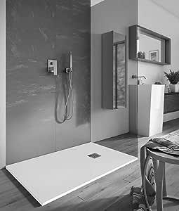 Plato ducha 80 x 120 1 ° elegir rectangular de piedra sintética, desagüe cromado: Amazon.es: Bricolaje y herramientas
