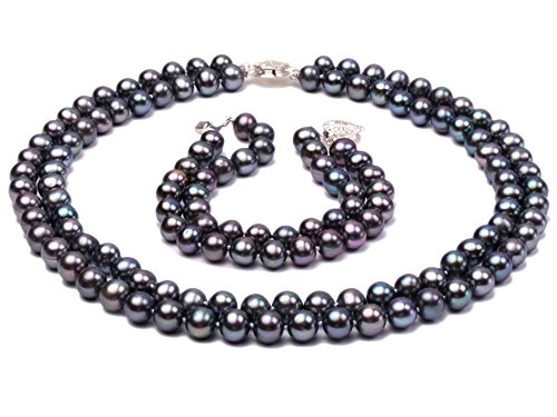 JYX Double-row 8-9mm Round Dark-blue Freshwater Cultured Freshwater Pearl Necklace and Bracelet (Pearl Double Row Bracelet)