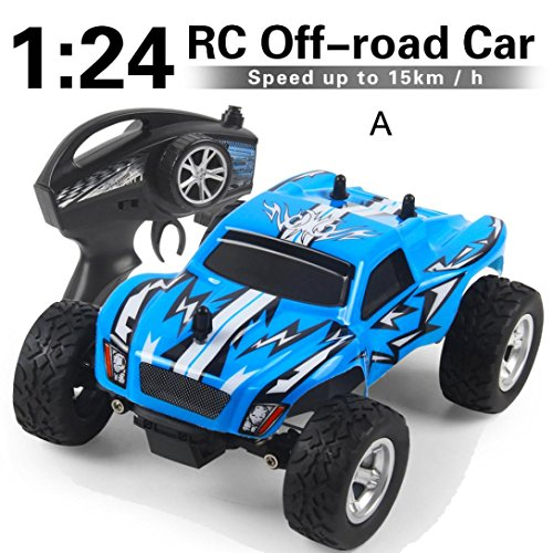 Gbell RC Cars Off-Road Climbing Vehicle Truck- 1/24 2.4G 2WD High Speed RC Racing Car Buggy Kit Toy Birthday for Boys Kids,Blue Red (Blue) (2wd Old Body)