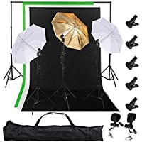 AW Pro 3 Photo Backdrop Kit w/ Clamp 10Ft Support stand 3 Set 33 Umbrella 7Ft Light Stand