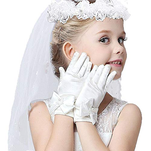 Girls Veil First Communion, First Holy Communion Veils And Gloves For Girl]()
