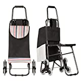 Stair Climbing Multipurpose Folding Utility Cart with Built-in Seat for Laundry, Grocery, Shopping and More