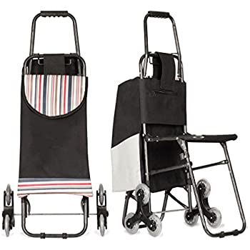 Stair Climbing Multipurpose Folding Utility Cart with Built-In Seat for Laundry, Grocery, Shopping and More ...