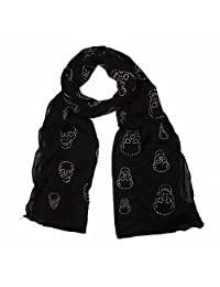 Skull Head Fix Rhinestone Scarf Black Long Wrap Shawl Scarves Soft Stole Echarpe