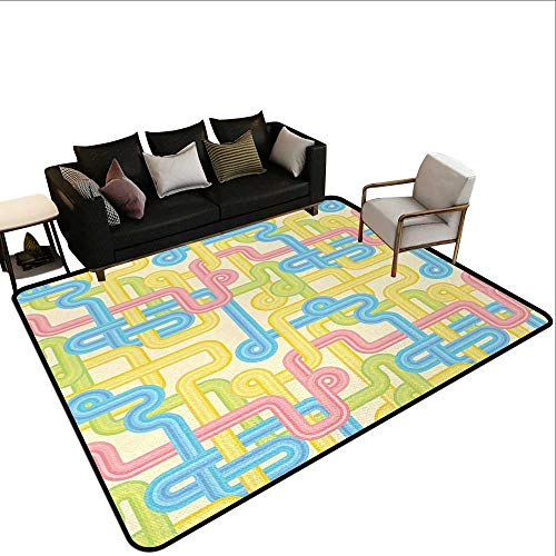Bathroom Rugs 90s,Old Design Hippie Labyrinth Style Geometric Pattern Illustration in Pastel Colors,Yellow Blue,for Living Room, Bedroom, and Dining Room 5'x 6'