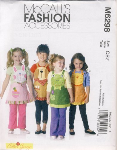 McCall's Fashion Accessories Sewing Pattern 6298 - Use to Make - 4 Styles of Children's Aprons - Dog, Cat, Frog, Bunny - Sizes - Fashion Accessories Mccalls