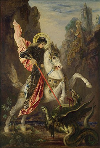 Perfect Effect Canvas  The Cheap But High Quality Art Decorative Art Decorative Prints On Canvas Of Oil Painting Gustave Moreau Saint George And The Dragon   16 X 24 Inch   41 X 60 Cm Is Best For Game Room Decor And Home Decoration And Gifts