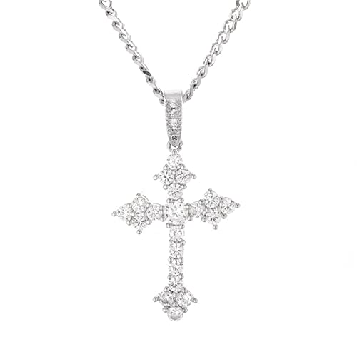 MCSAYS Hip Hop Jewelry Cubic-Zirconia Bling Cross Pendant Religious  Christian Necklace (Silver) 44cf40edef4c