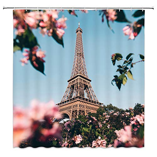 AMFD Eiffel Tower in Paris Shower Curtain Sunny Weather Pink Flowers Romantic Spring Classic Landscape Scenery, Polyester Fabric Waterproof Mildew Resistant 70 x 70 Inches Include Hook Blue Sky