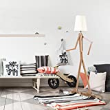 HROOME Nordic Unique Design Wooden Decorative Floor Lamp for Living Room Modern Adjustable Standing Lamp with Shade Bedroom 160cm(Ash)