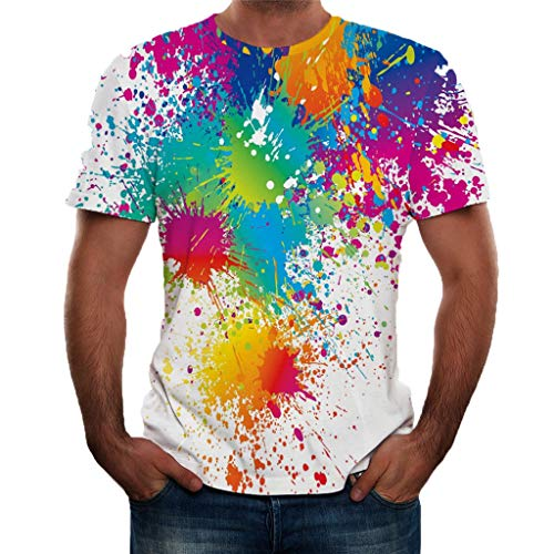 ℱLOVESOOℱ Men's Casual 3D Pattern Printed Short Sleeve T-Shirts New Colorful Graphic Tees Blouse Tops for Men and Women White