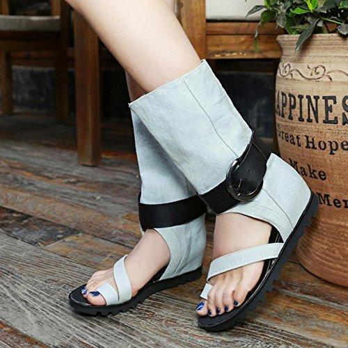 COOLCEPT Mujer Moda Punta Abierta Demin Al Tobillo Tacon De Cuna Boots Sandalias Light Azul