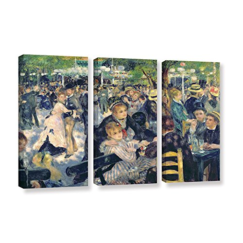 Art Wall 3 Piece Pierre Renoir's Ball at The Moulin De La Galette Gallery Wrapped Canvas Set, 24 x (Renoir Picture)