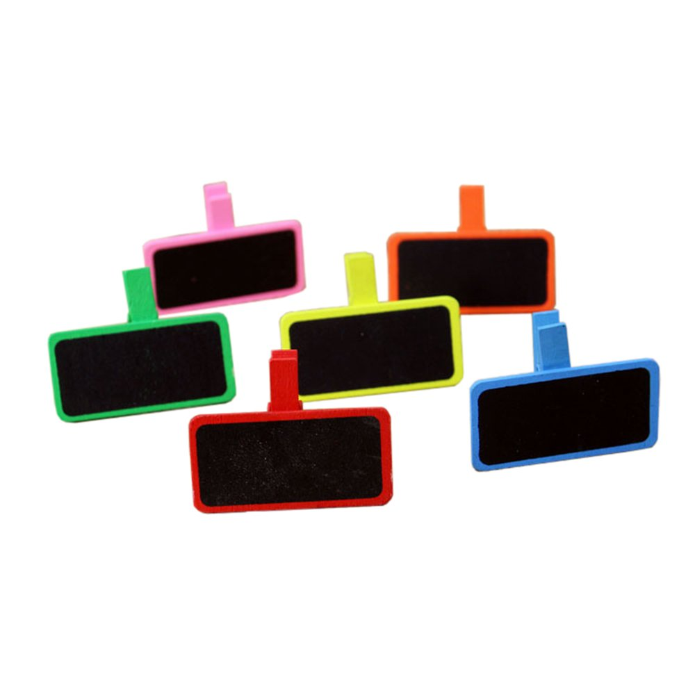 Vpang Mini Blackboard Clips 30 Pcs Colorful Wooden Chalkboard Label Clips Message Board Clips Clothespins Sign Blackboard for Wedding Party Table Decorations with Jute Twine
