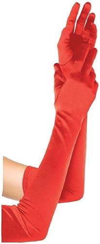 Leg Avenue guantes de satén más el tamaño de las mujeres de color rojo de un tamaño extra largo