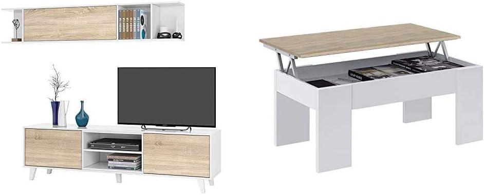 Habitdesign 0F6634BO - Mueble de salón Comedor, módulo TV + Estante + 0F1640A - Mesa de Centro elevable acabada en Color Roble Canadian, Medidas 45 x 100 x 50 cm: Amazon.es: Hogar