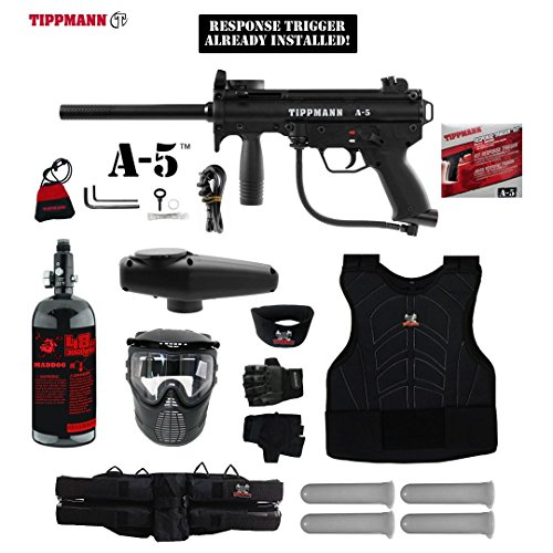 MAddog Tippmann A5 A-5 w/Response Trigger Starter Protective HPA Paintball Gun Package - -