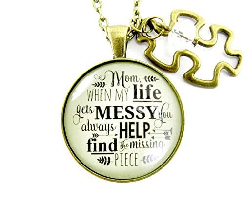 """24"""" Mother Necklace from Daughter Mom When Life Gets Messy Quote Jewelry Vintage Style 1.20"""" Round Pendant Puzzle Charm"""