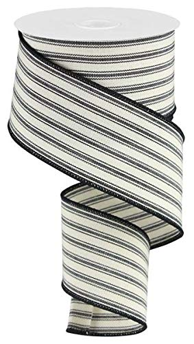 Ticking Stripe Wired Edge Ribbon - 10 Yards (Beige, Black, 2.5
