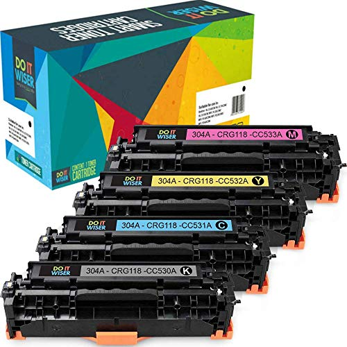 Do it Wiser Remanufactured Toner Cartridge Replacement for Canon 118 HP 304A HP CC530A CC531A CC532A CC533A HP CP2025 CP2025nf CP2025dn CM2320 CM2320nf CM2320fxi Canon MF8580cdw MF8380cdw (4-Pack) ()