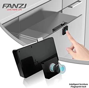 FANZI Fingerprint Lock,Smart Cabinet Locks,Biometric Keyless Furniture Drawer Cabinet Wardrobe Fingerprint Locks for Drawer Cabinet Wardrobe,Suitable for Home &Office