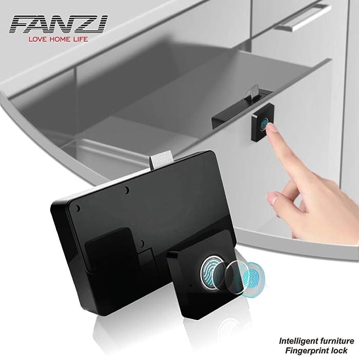 FANZI Fingerprint Lock,Smart Cabinet Locks,Biometric Keyless Furniture Drawer Cabinet Wardrobe Fingerprint Locks for Drawer Cabinet Wardrobe,Suitable for Home &Office