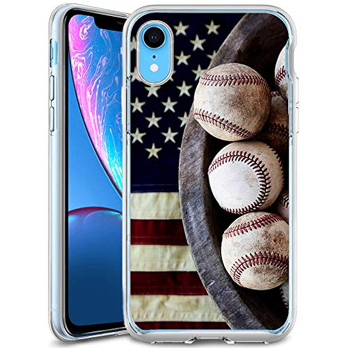 iPhone Xr Case Baseball and Flags,UV Print Clear Transparent Case Scratch Resistant Shock-Absorbing Case Soft Flexible Protective Case for iPhone Xr