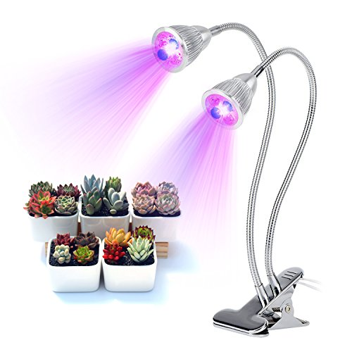 Dual Head LED Plant Grow Light, 10W Adjustable 360°Flexible Gooseneck with Desk Clamp for Indoor Seedlings Hydroponics Greenhouse Gardening