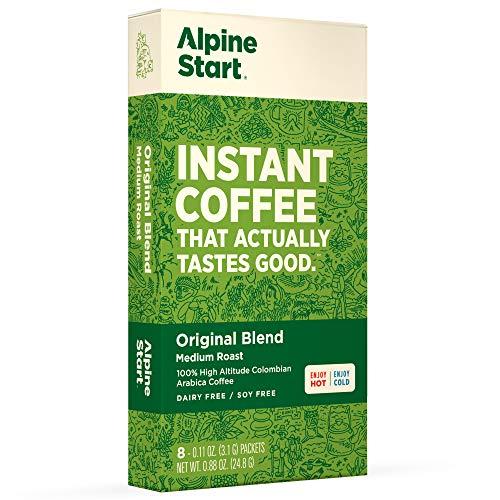Alpine Start Premium Instant Coffee, 8 Single Packets, Original Blend, Medium Roast, 100% High Altitude Colombian Arabica Coffee, 0.88 Ounces, Dairy Free, Gluten Free, Vegan, Vegetarian, Keto (Meats Alpine)