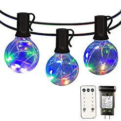 Garden and Outdoor Patio Led String Lights Outdoor – IELECMG 34.4 FT G40 Globe Led String Lights 32 Bulbs(2 Spare) Linkable Dimmable… outdoor lighting