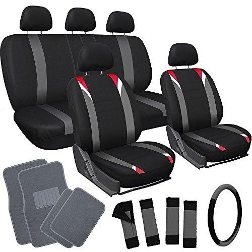 Trucks Carpet Floor Mats Cars (OxGord 21pc Flat Cloth Seat Covers with Gray Carpet Floor Mats for Car, Truck, Van, SUV)